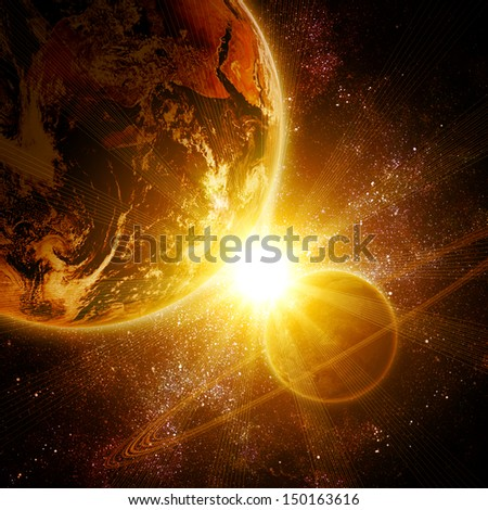 two realistic planets in open space. Elements of this image are furnished by NASA. - stock photo