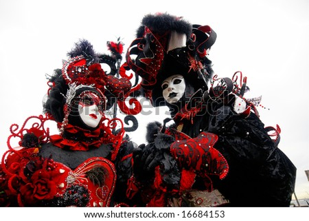 Two Red and Black masks in Venice, Italy. - stock photo