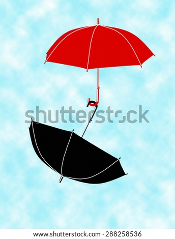 Two red and black umbrella flying in the blue sky with white clouds. Concept, symbol of protection, salvation, joy, love, care, support in business, finance, life in relationship between man and woman - stock photo