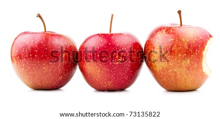 Two Red Apple and Bitten Red Apple Isolated on White - stock photo