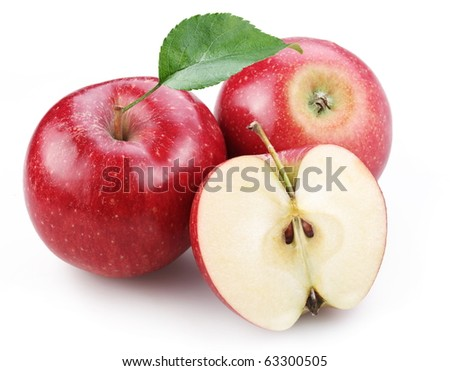 Two red apple and half of red apple isolated on a white background. - stock photo