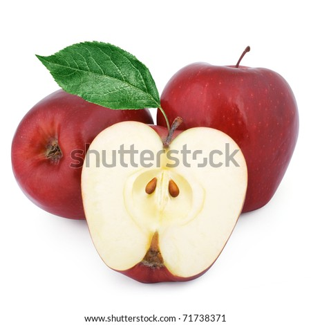 Two red apples and half of apple. - stock photo