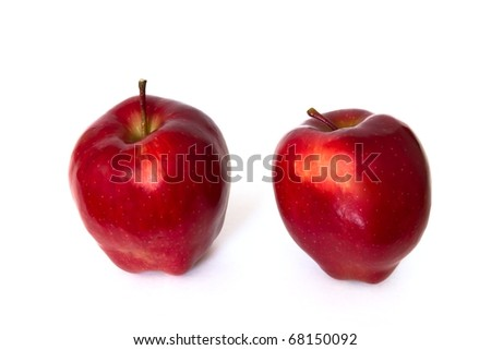 two red apples isolated on white