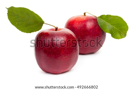 Two red apples isolated on white background, close-up.