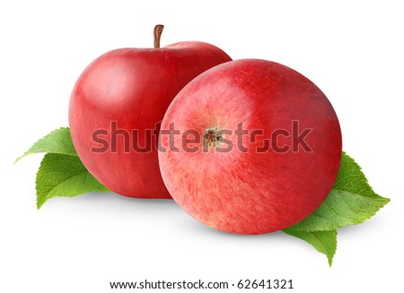 Two red apples with leaves isolated on white - stock photo