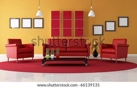 two red armchair and sofa in a contemporary living room - rendering - stock photo