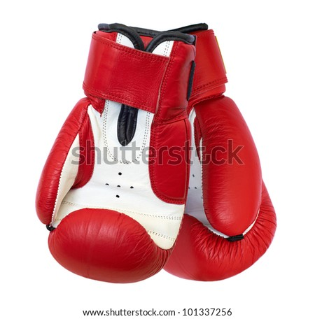 Two red boxing gloves isolated on white background