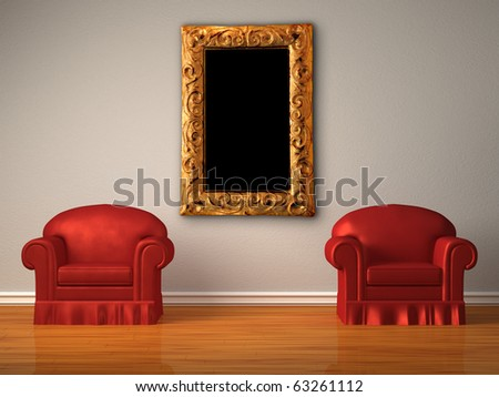 Two red chairs and modern frame in minimalist interior - stock photo