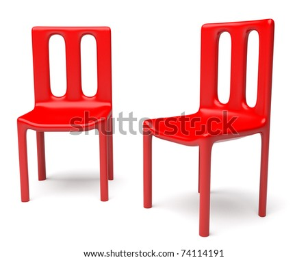 Two red chairs isolated on white background - stock photo