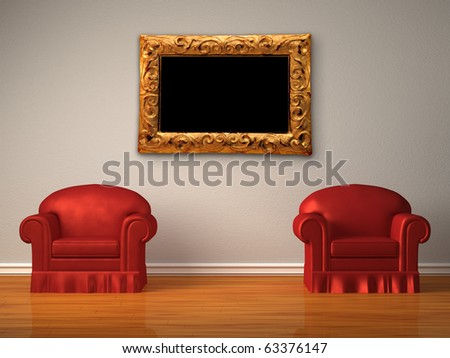 Two red chairs with modern frame  in minimalist interior - stock photo