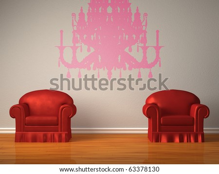 Two red chairs with silhouette of chandelier in minimalist interior - stock photo