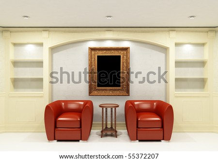 Two red chairs with table and antique frame in empty library room