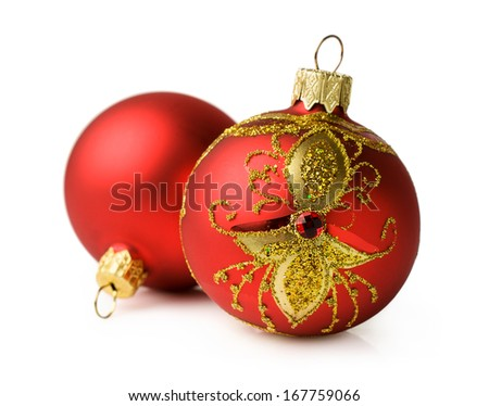 two red Christmas ball isolated on white