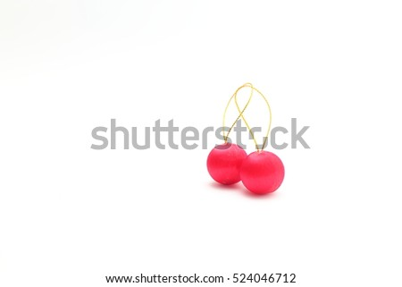 Two red christmas balls on a white background