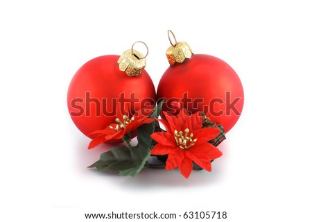 Two red Christmas balls with flower decoration