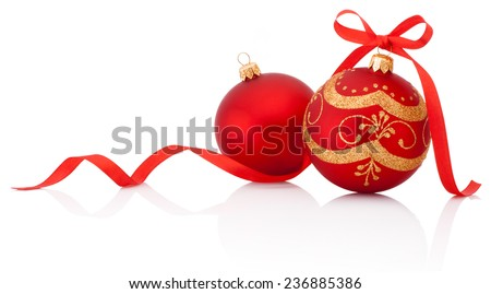 Two Red christmas decoration balls with ribbon bow isolated on white background - stock photo