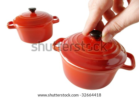 two red cookers - stock photo