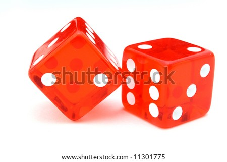 two red dice side by side over a white surface - stock photo