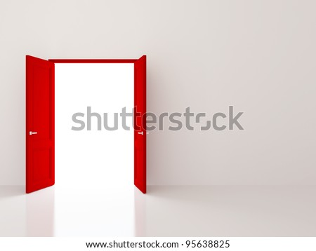 Two red doors opening to the light - stock photo
