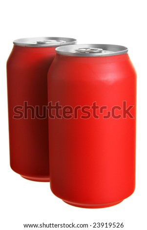 Two red drink cans isolated over white background - stock photo