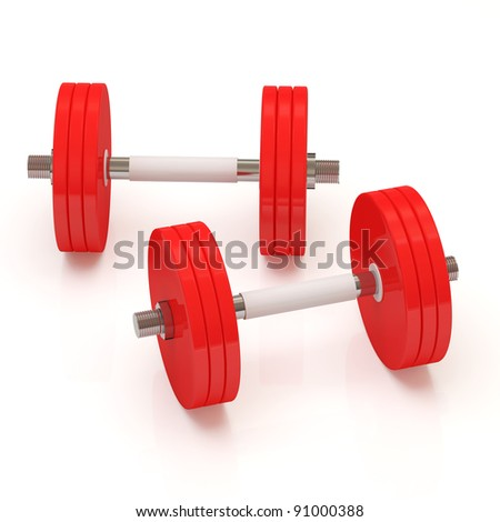 Two Red Dumbbells On White Background (Hight Resolution 3D Image)