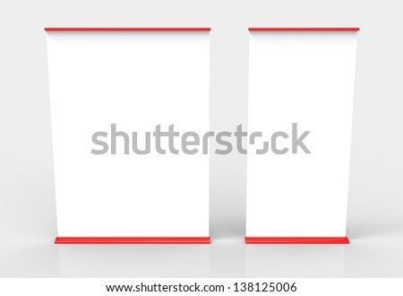 Two red empty roll banners in different sizes. Easily paste your own content on the banners and create an advertisement or info post.