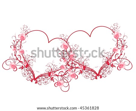 Two red floral hearts - stock photo