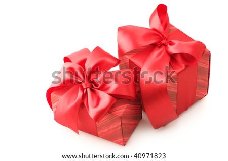 Two red gifts with satin bows isolated on white background.