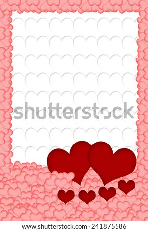 Two red hearts are placed on a multitude of pink hearts in the bottom of the image. All on white background formed from white hearts. The edges of the image are made of pink hearts.  - stock photo