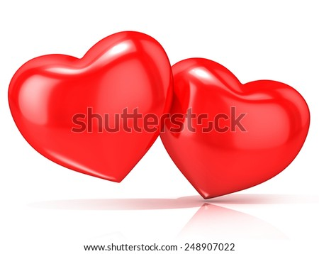 Two red hearts. 3D render illustration isolated on white background - stock photo