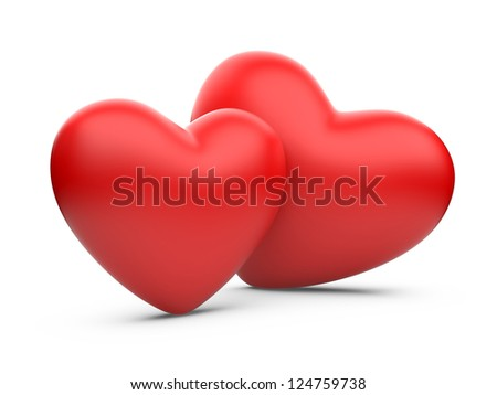two red hearts isolated on a white background