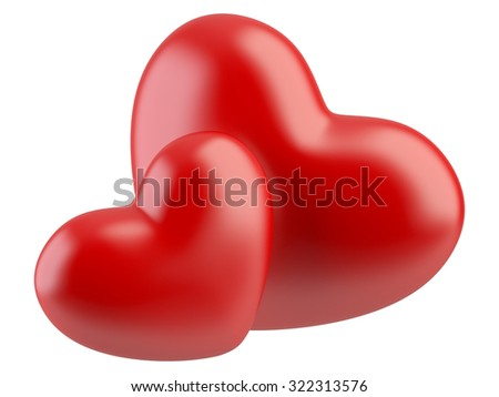 Two red hearts isolated on a white. lover concept.  - stock photo