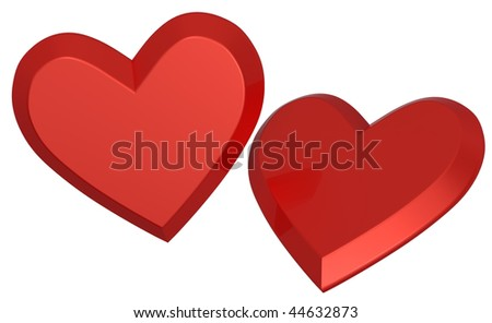 Two red hearts isolated on white. Computer generated 3d photo rendering. - stock photo