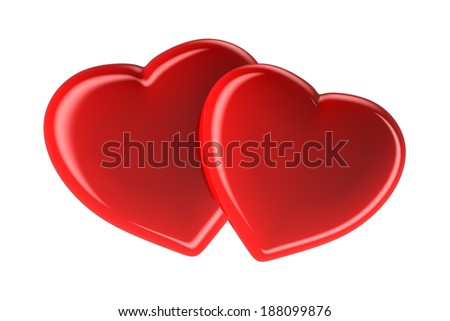 Two red hearts isolated on white, 3d rendered image - stock photo