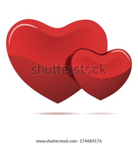 Two red hearts isolated on white illustration. - stock photo