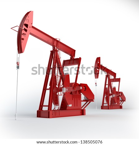 Two Red Oil pumps. Oil industry equipment. - stock photo