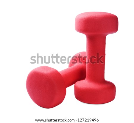 Two red plastic coated dumbells isolated on white - stock photo