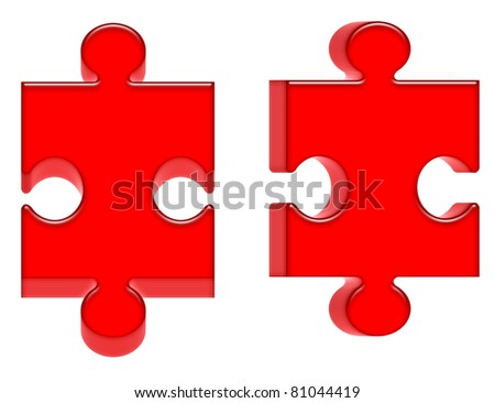 Two red puzzle - stock photo