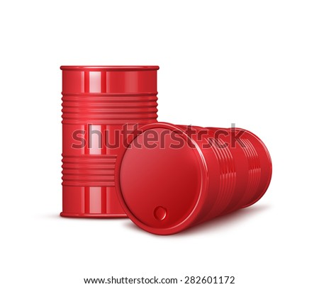 Two red shiny metal barrels with shadows - isolated on white background - stock photo