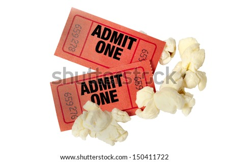 Two Red Ticket Stubs With Popcorn/ Popcorn & A Movie/ Movie Time Isolated on White - stock photo