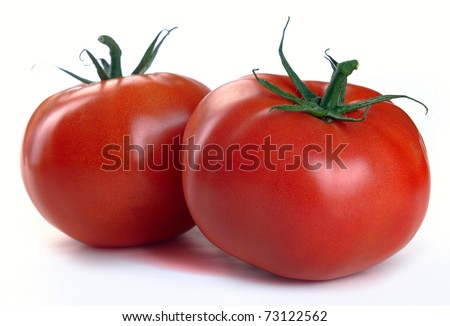 two red tomatoes on a white background - stock photo