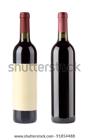 two red wine bottles with blank label isolated on white - stock photo