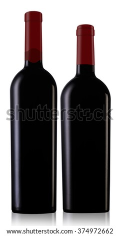 Two red wine bottles with caps and no label isolated on white background - stock photo