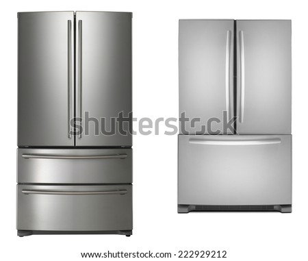 two refrigerators isolated - stock photo