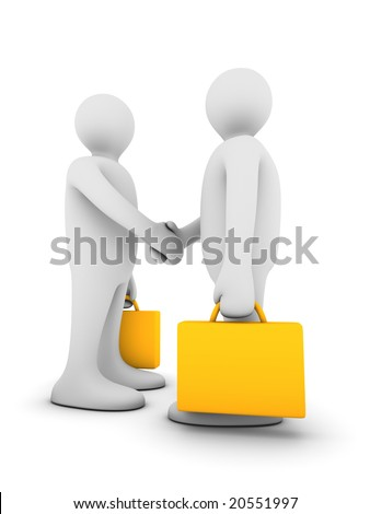 two rendered business figures shaking hands - stock photo