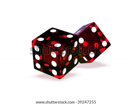 Two rendered red glass dices isolated on white - stock photo