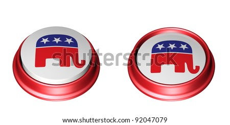 Two Republican Party Buttons. One in the up position and the other in the depressed position. Vote. Isolated on a white background. - stock photo