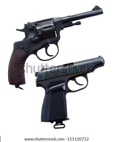 Two retro guns isolated - stock photo