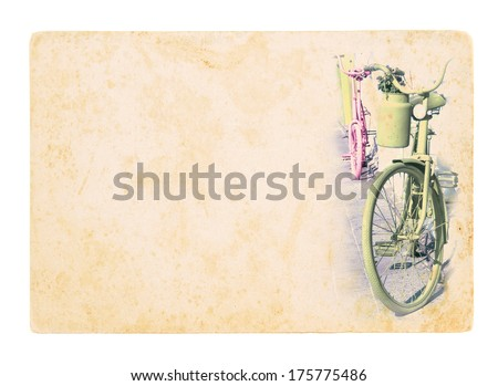 Two retro style bicycles on the street in Amsterdam. Old bicycle on grunge textured paper. Vintage postcard with painted bicycles on dirty paper background. - stock photo