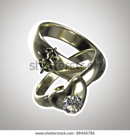 "Two rings as an illustration for ""marriage of convenience"" isolated with a white stroke - stock photo"